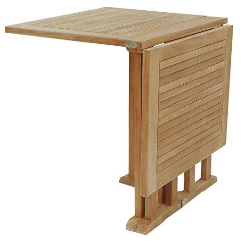 Beho Natürlich gut in Holz Butterflyklapptisch 120x70x75 cm aus unbehandelten Teakholz, stabil, hochwertig langlebig Beistelltisch Klapptisch