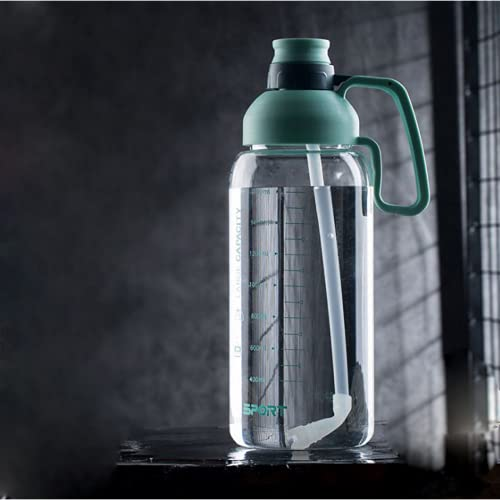 YIXINYOUPIN Botella de agua de gimnasio de 1,8 litros, sin Bpa, botella de agua de gran capacidad, taza de agua deportiva con asa, adecuada para adolescentes, adultos, deportes, gimnasio verde