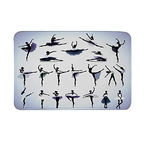LiminiAOS Decoración del apartamento Alfombrilla Antideslizante, Siluetas de Bailarinas de Ballet Femenino Diseño artístico Imprimir Alfombrilla para el baño Sala de Estar