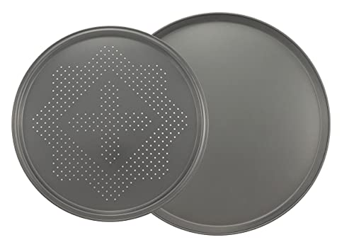 Chef Select Round Non-Stick Pizza Pan Set | 16-Inch Solid Pizza Pan & 14-Inch Crisper Pan with Holes, Metal Bakeware for Oven