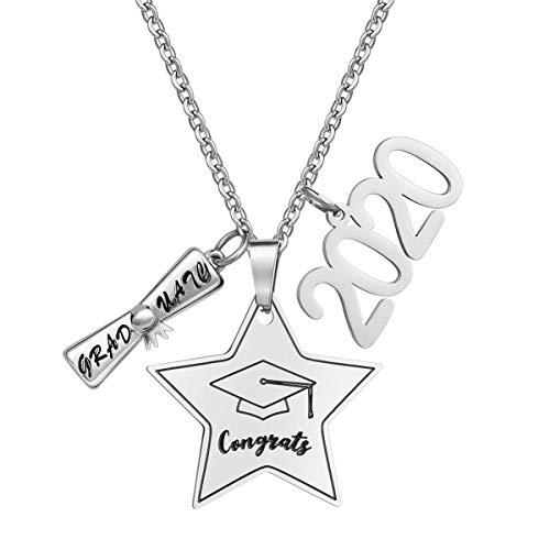 Amosfun 2020 Graduierung Halskette Edelstahl Herzlichen Glückwunsch Geschenk Halskette Charm Anhänger Inspirierenden Schmuck für Beste Freunde