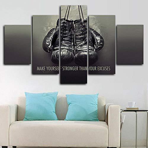 axqisqx Boxhandschuhe Gym Motivation Poster 5 Stück Leinwanddruck Wandkunst Dekor 150x80cm-Rahmen