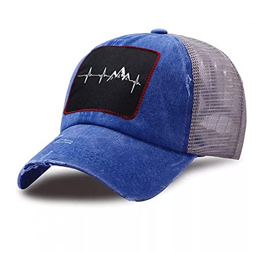 Gorra béisbol Hiphop Sun Hat Gorra de béisbol de camionero con estampado de montaña al aire libre informal de malla transpirable sombreros de papá gorra de algodón unisex Ajustable Plegable regalos