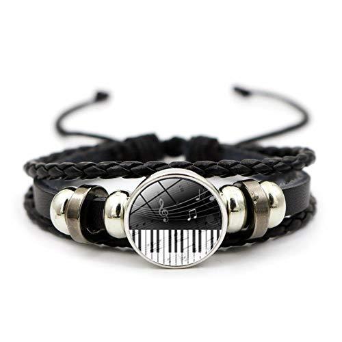 Maneray Musical Instrument Piano Keyboard Pattern Glas Cabochon Armband Schmuck Schwarz Geflochtenes Leder Bracelet für Männer Frauen Geschenk / 2 St