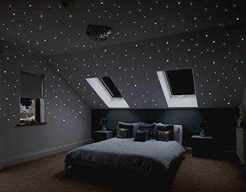Realistischer Sternenhimmel zum Kleben mit über 400 selbstklebenden, fluoreszierenden, Sternen (Leuchtpunkten, Leuchtsternen).