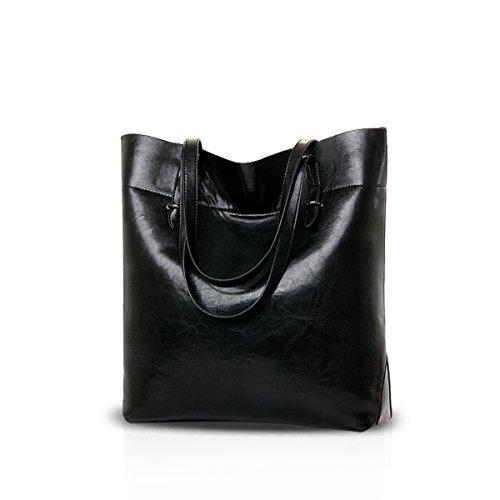Nicole&Doris 2016 nuovo temperamento selvaggio di grande capacità borse in pelle olio borsa donne alla moda(Black)