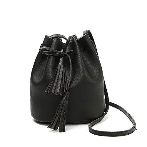 Beuteltasche Damen, Bucket Bag Umhängetasche Damen Handtasche Plastik (PU Kunstleder) Schultertasche Original Design Umhänge Handtasche Shopper Henkeltasche (BLACK)