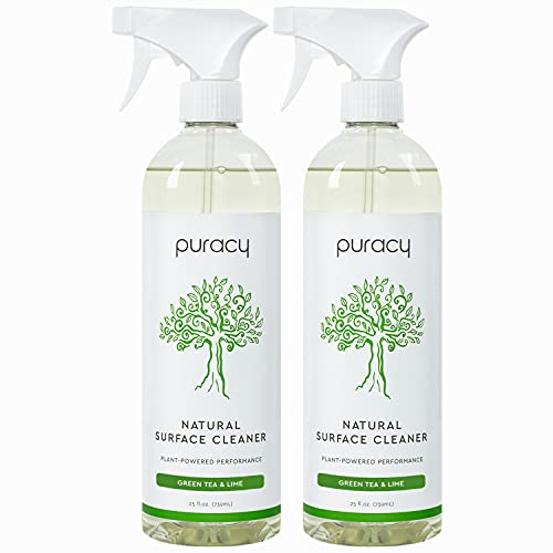 Puracy Streak-Free Surface Cleaner, Natural Household Cleaning Spray for Stainless Steel, Glass, Granite, Floors, Cars, 25 Fl Oz (2-Pack)