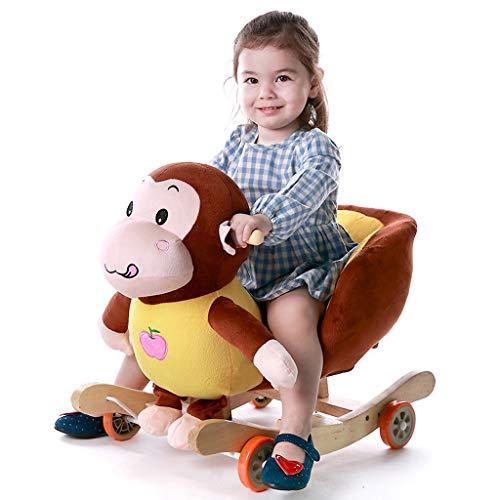 Singe Cheval de Troie Enfant Apprentissage précoce Cheval à Bascule Bébé Chaise berçante Musique Jouets pour bébé à Double Usage 1-4