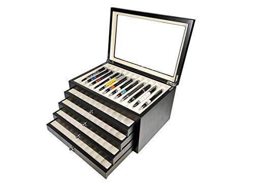 Scatola Portapenne con vetrina per 56 penne in legno Nera