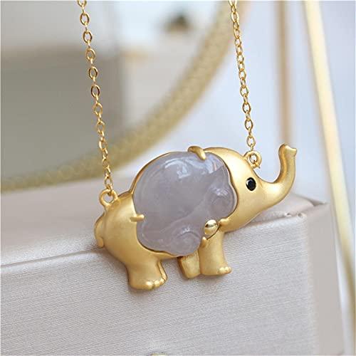 HHKX100822 Collar De Elefante De Jade, JoyeríA, Collar con Colgante De Elefante, Amuleto De JoyeríA De Moda Tallada A Un Lado para Hombres, Mujeres, Regalos para Collar, Amor De Pareja A