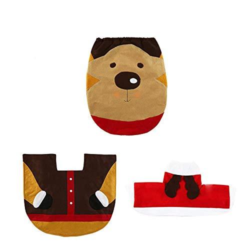 Ritte 3pcs Set De Inodoro Decoración De Baño De Navidad Navidad De Alfombra De Baño +Cubierta del Cartón...