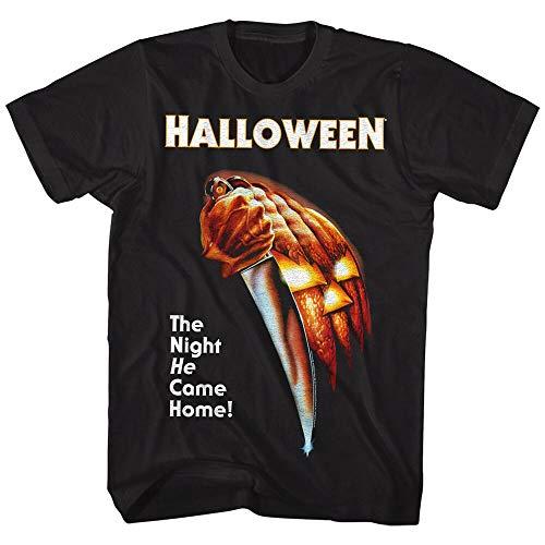 efffff Halloween Horror Movie Poster Men's T Shirt The Night HE Came Home Knife Mask Blacks