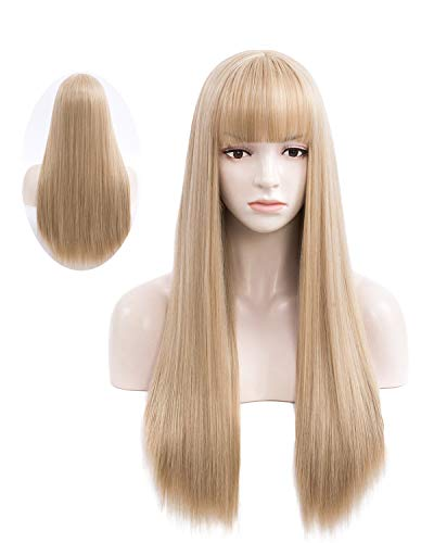 netgo Women's Long Straight Wigs With Bangs, 27 inch Heat Resistant Synthetic Cosplay Party Halloween Costume Wigs with Rose Net (Ash Blonde)
