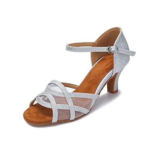 Akanu Women's Latin Dance Shoes Female's Ballroom Salsa Dance Shoes(B-Style Silver Size 7.5)