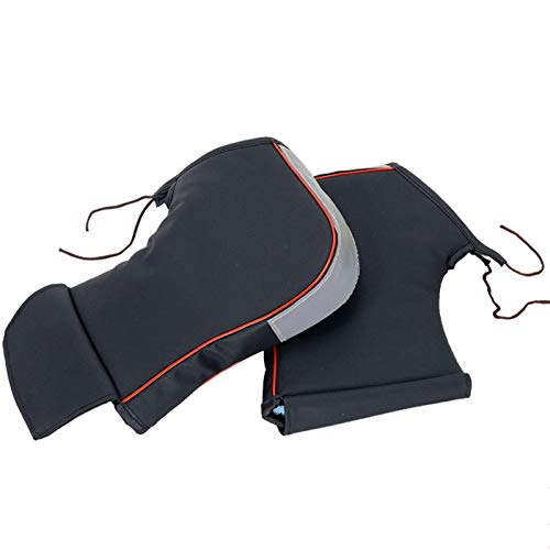Seatechlogy Manoplas de Moto Manillar, Cuero PU Nailon, Engrosamiento Guantes de Moto Invierno Impermeable al Viento para Moto Scoote