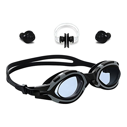 Badalink Swim Goggles Anti Fog Anti Shatter No Leaking Clear Uv Protection,Triathlon Silicone with Nose Clip, Ear Plugs for Adult Men Women Kids Technology Ultra Comfort Swimming Goggles