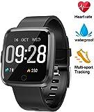 WADEO Smartwatch Herren Fitness Armband mit Pulsmesser Blutdruckmessung Bluetooth Smart Watch Touchscreen Wasserdicht Fitness Tracker Schrittzähler für Kinder Damen(Schwarz)
