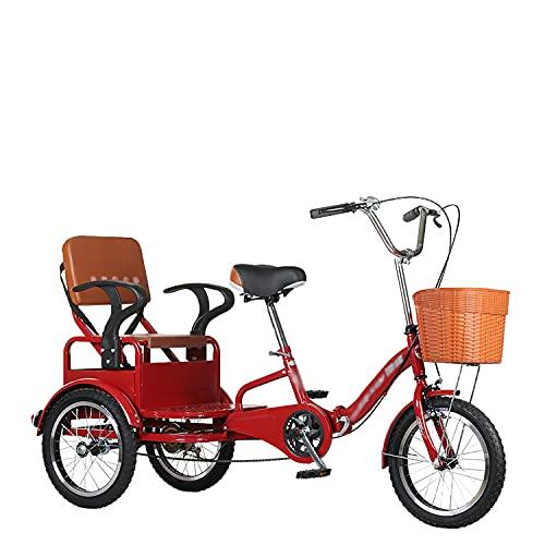 Triciclo para Adultos Bicicleta 16in Adultos Bicicleta Marco De Acero De Alto Carbono Triciclo Adulto con Triunfo De Crucero De Asiento Trasero para Recreación, Compras, Picnics Ejercicio (Rojo)
