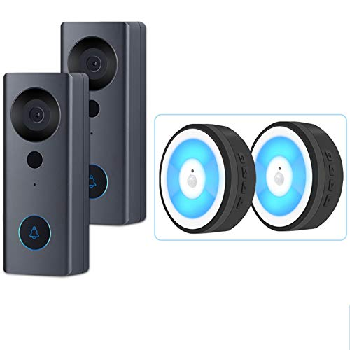 PrittUHU 1080p HD Video Dropbell Cámara WiFi Inalámbrico Inalámbrico Smart Home Door Bell Outdoor Intercom 2 Vía Audio LED Luz Noche USB (Color : B2 Button 2 Receiver)