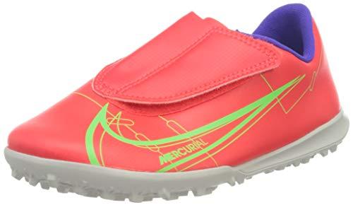 Nike Jr Vapor 14 Club TF PS (V), Football Shoe, Bright Crimson/Metallic Silver-Indigo Burst-White-Rage Green, 31 EU