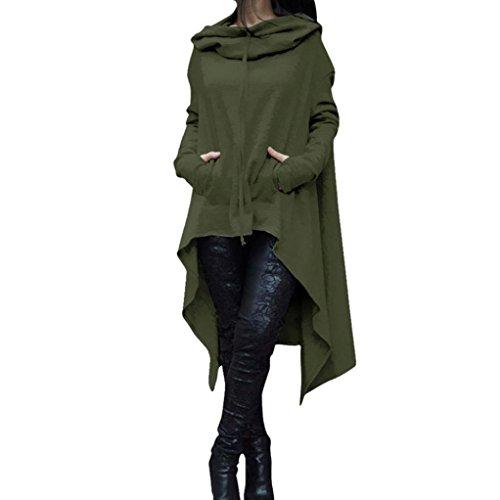 Sinwo Women Autumn Loose Hoodie Long Hooded Tops Ladies Sweatshirt Plus Size Sweater Asymmetric Blouse Coat