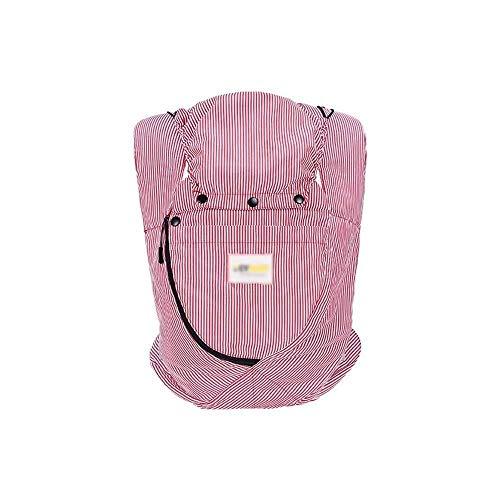 NJ Baby Carrier- Ergonomische kinderwagen Katoen Sling Veelzijdig Voor en Achter + Winddichte Cap Baby Sling roze