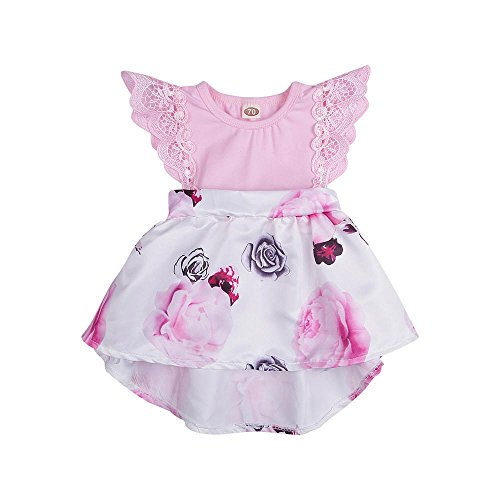 DAY8 Vêtements Bébé Fille Naissance Été Robe Bébé Fille Cérémonie Princesse Mariage Baptême Fête 0-18 Mois Chic Soirée Mode Costume de Jupe Tutu Robe de Fille Floral Dentelle (90(6-12 Mois), Rose)