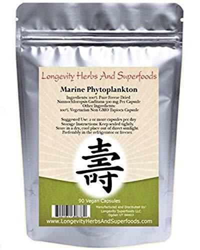 Marine Phytoplankton Powder Capsules Raw Omega 3 EPA Vegan ATP Energy Superfood (180 Vegan Capsules)