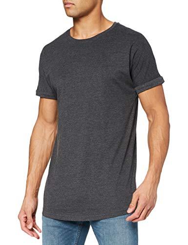 Urban Classics Herren Long Shaped Turnup Tee T-Shirt, Grau (Charcoal 91), Large