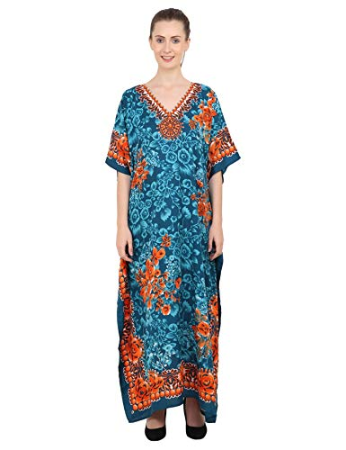 Miss Lavish London Mujeres caftán de Londres túnica Kimono Libre tamaño Largo Vestido de Fiesta para Loungewear Vacaciones Ropa de Dormir Playa Todos los días Cubrir Vestidos Teal EU 46-50