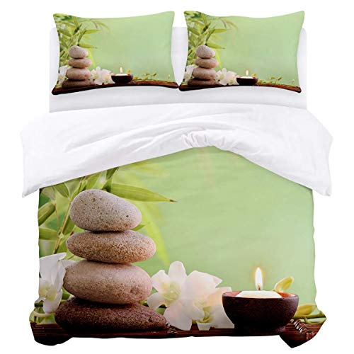 Duvet Cover Set,3 Pieces Ultra Soft Comforter Quilt Bedding Cover with Zipper Closure, Ties - Asian Spa Style Arrangement with Zen Stones Candle Flowers and Bamboo Easy Care Anti-Allergic Soft Smooth