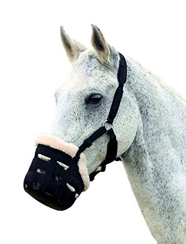 Deluxe-Weidenmaulkorb von Shires für Pferde, aus Nylon, 495NF, schwarz, Small Pony