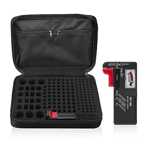 Fireproof Battery Organizer Storage Carrying Case Bag with Holder/Battery Tester BT-168, Holds 172 Batteries AA AAA C D 9V(Not Includes Batteries)