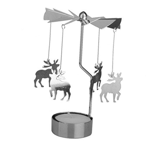 Waymeduo rotierendes Teelicht-Karussell mit Hirsch-Design, metall, Schwarz