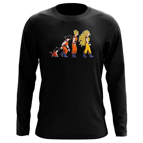 Okiwoki T-Shirt Manches Longues Noir Parodie Dragon Ball Z - DBZ - Sangoku Super Saiyajin - La Théorie de l'évolution : (T-Shirt de qualité Premium de Taille M - imprimé en France)