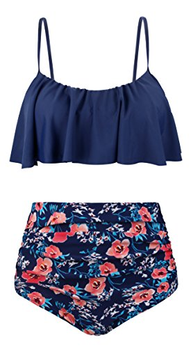 Angerella Women's High Waisted Swimsuit Flounce Bikini Ruffle Floral Bathing Suits Swimwear,Multi-Colored,L