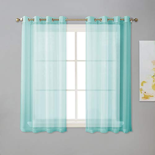 "NICETOWN Grommet Sheer Curtain Panels - Short Voile Window Curtains 45"" Long for Nursery/Kids Room/Kitchen/Bedroom (54"" Wide, Pool Blue, Set of 2)"