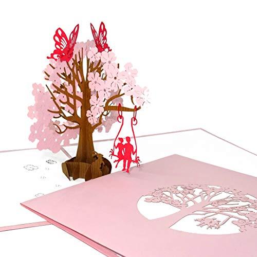 3D Hochzeitskarte - Pop Up Karte zur Hochzeit als Geschenk, Gutschein & Einladungskarte