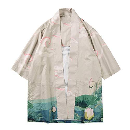EUZeo Herren Druck Japanisch Kimono Cardigan Japan Bademantel Kimono Jacke Yukata Coat Ukiyoe Baggy Einheitsgröße Tops Nachtwäsche Pajamas