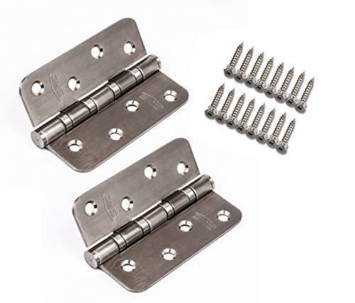 Cerniere per porta in acciaio inox, 4 cuscinetti per un movimento perfetto, in acciaio inox di alta qualità, resistenti alle intemperie, lisce e silenziose, cuscinetto silenzioso (coppia di 2, 100 mm)