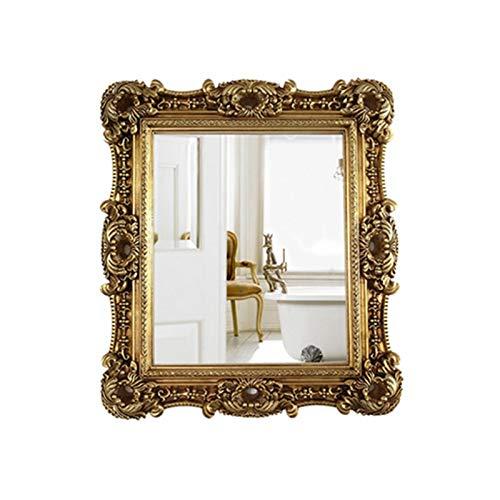 Decoración del hogar Espejos Retro Rectángulo Espejo De Baño Escultura Maquillaje Espejo Sala De Estar Porche Montado En La Pared Espejo De Longitud Completa 83 * 73cm Espejos de(Size:83*73CM,Color:B)