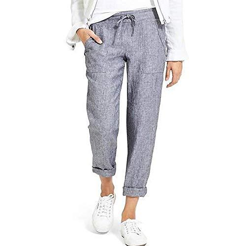 Minetom Femme Pantalon Été Coton Lin Harem Pantalon Léger Cordon Élastique Solide Couleur Pantacourt Sport Pants 7/8 Longueur Pants F Gris XL