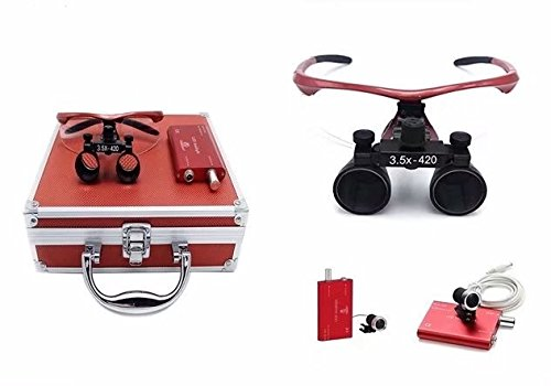 mkdental nuevo quirúrgico Binocular Loupes 3.5X 420Mm Optical Glass con LED lámpara de cabeza + rojo caja de aluminio