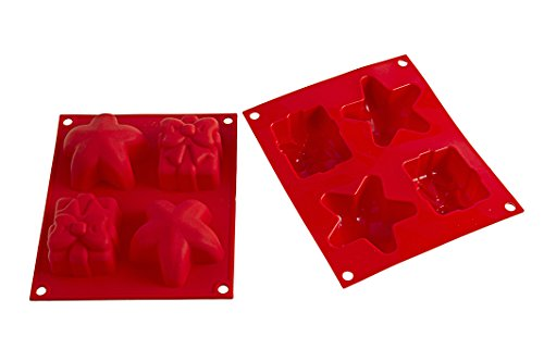 Silikomart 26.001.01.0065 HSF01 Moule Multiforme Thème Noël Silicone Rouge