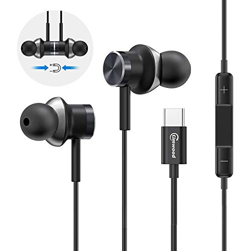 USB C Headphones, IPX 5 Water Resistant HiFi Stereo USB C Earbuds W/Mic Noise Isolation Headphone for Google Pixel 4/3/2/XL, Essential Phone, 2018 iPad Pro, One Plus 6T and More