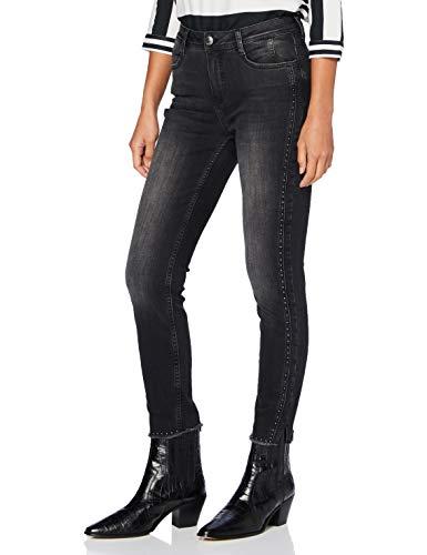 Street One Damen 373361 Denim Style York Slim Fit High Waist Jeans, Authentic Black wash, W29/L28