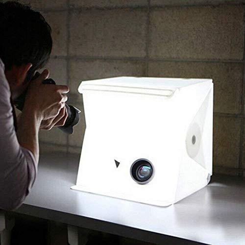 Tienda Photo kit de estudio de la foto con la luz del LED, 24x22x24cm Pooh tienda ligera luz de la tienda de Fotobox con 2 fondo (blanco, negro)