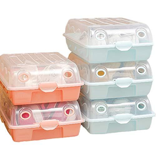 ZCSM Cajas de Zapatos Rransparentes Apilables, 5 Cajas de Zapatos Plásticas, Organizador de Zapatos, Impermeable, Ahorra Espacio, Casa, Hogar, (Color Aleatorio) 36.5 x 22.5 x 11 cm