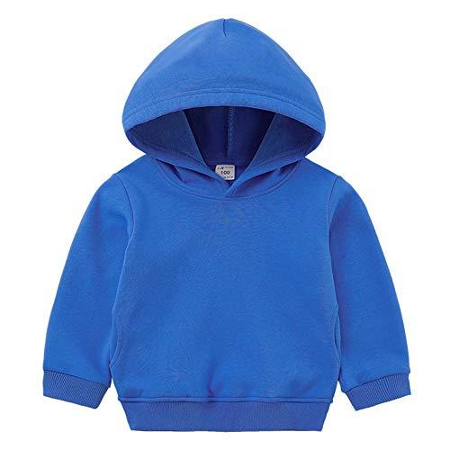 Lishui Kind Jungen Mädchen Kapuzenpullover Drucken Sweatshirts Streetwear Winter Verdicken Warm Pullover Langarm Blau 140 (Höhengeeignet:135CM)
